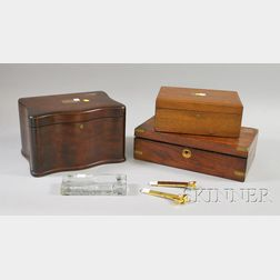 Five Cigar Smoking Related Items and a Brass-mounted Rosewood Veneer Lap Desk