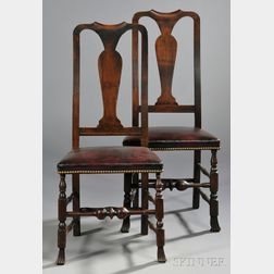 Near Pair of Queen Anne Maple Carved Spanish-foot Side Chairs