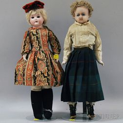 German Bisque Shoulder Head Girl and a Wax Doll