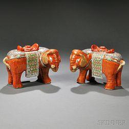 Pair of Chinese Export Porcelain Rose Medallion Elephant-form Incense Burners