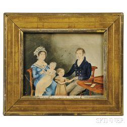 American School, Early 19th Century      A Family Portrait