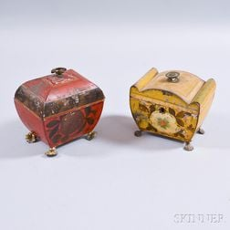 Two Paint-decorated Tole Tea Caddies