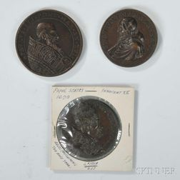Three Bronze Papal Medals
