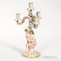 Meissen Porcelain Figural Four-light Candelabra