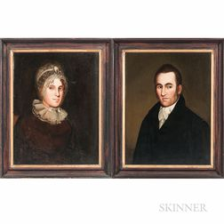 Zedekiah Belknap (New England, 1781-1858)      Pair of Portraits of a Man and Wife