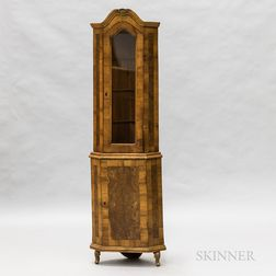 Baroque-style Walnut Two-part Corner Cabinet