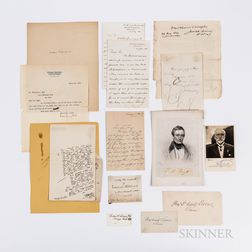 Eleven Signed Cards or Letters of 19th and Early 20th Century Academics.