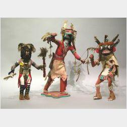 Three Painted Kachina Dolls.