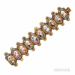 Antique Gold, Swiss Enamel, and Gem-set Bracelet