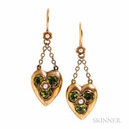 15kt Gold and Peridot Earrings