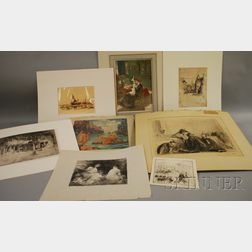 Lot of Eight Unframed Prints:      Hayley Lever (American 1875-1958), Harbor Scene