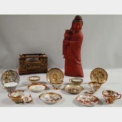 Asian Red-painted Carved Wood Guan Yin Figure and Seven Japanese Porcelain   Cups and Saucers