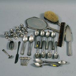 Group of Assorted Silver Flatware, Tableware, and Personal Items