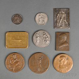 Nine Commemorative Bronze Medallions