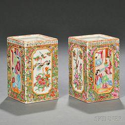 Pair of Chinese Export Porcelain Rose Medallion Vases