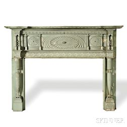 Green-painted Carved Federal Mantelpiece