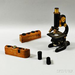 Bausch & Lomb Ebonized and Gilt-brass Microscope with Varied Lenses