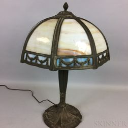 Bronzed Cast Metal and Overlay Slag Glass Table Lamp