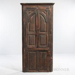 """Green-painted """"Blind Door"""" Barrel-back Corner Cupboard"""
