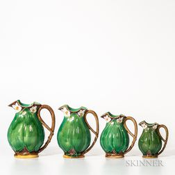 Four Graduated Mintons Majolica Leaf Jugs