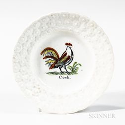 "Small Transfer-printed and Hand-colored ""Cock"" Plate"