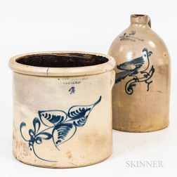 Two Cobalt-decorated Stoneware Vessels