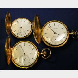 Three 18kt Gold Hunting Case Pocket Watches