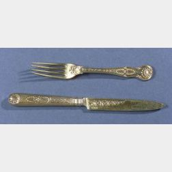 George III Paul Storr Gold-washed Silver Fruit Fork and Knife