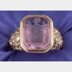 14kt Gold and Amethyst Intaglio Ring