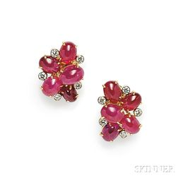 18kt Gold, Ruby, and Diamond Earclips, Aletto Bros.