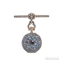 Antique Sapphire and Diamond Pendant Watch