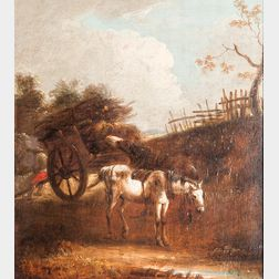 Dutch School, 17th Century Style      Peasant at Rest with Draft Horses and a Laden Cart