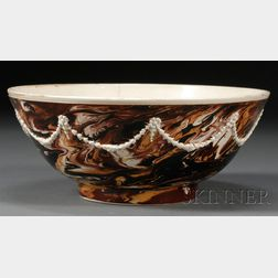 Mochaware Marbled and Sprig-decorated Bowl