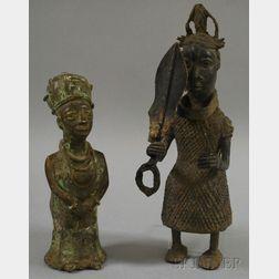 Two Benin Bronze Court Royal Figures