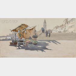 Francis Hopkinson Smith (American, 1838-1915)      Open Air Market, Venice