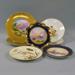 Seven Assorted Hand-painted English Porcelain Plates