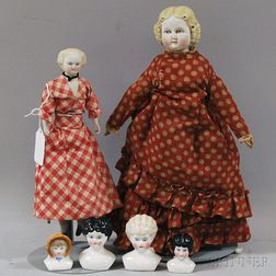 Two Small Parian-type Dolls and Four China Doll Heads