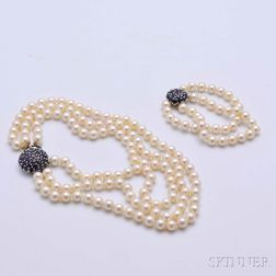 Triple-strand Pearl Necklace and Double-strand Pearl Bracelet
