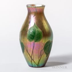 Tiffany Favrile Decorated and Wheel-cut Vase