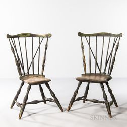 Pair of Braced Fan-back Windsor Chairs