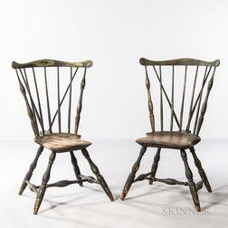 Pair of Braced Fan-back Windsor Chairs