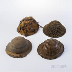 Four British WWII Helmets