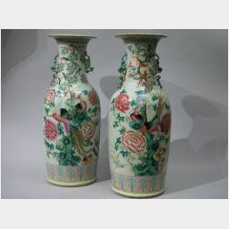 Pair of Chinese Export Porcelain Famille Rose Floor Vases.