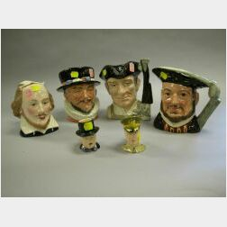 Three Royal Doulton Ceramic Toby Jugs and Two Small Royal Winton Ceramic Toby Jugs