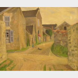 Framed Oil on Canvas View of a Street in a French Village