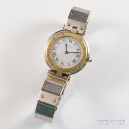 Cartier Stainless Steel and 18kt Gold Lady's Wristwatch