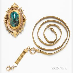 Victorian 14kt Gold Watch Chain and 14kt Gold and Turquoise Brooch
