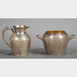 Whiting Manufacturing Co. Sterling Aesthetic Movement Sugar Bowl and Creamer