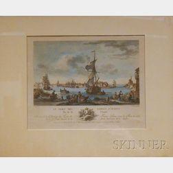 Framed French Engraving, Le Port des Sables D'Olone