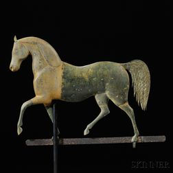"J. Howard Gilt Cast Zinc and Molded Copper ""Index"" Horse Weathervane"